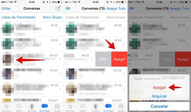 Apagando uma conversa no iOS