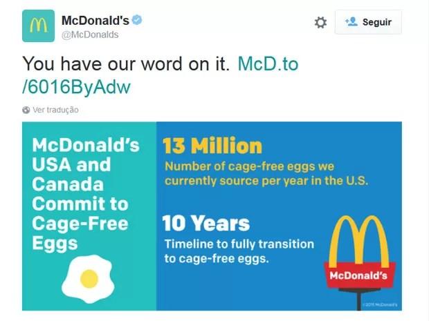 McDonald's anuncia que mudará a sua politica sobre consumo de ovos em seus restaurantes nos EUA e no Canadá (Foto: Reprodução/McDonald´s/Twitter)