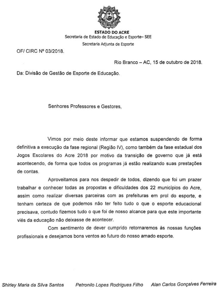 Ofício sobre cancelamento das últimas fases do Jogos Escolares do Acre — Foto: Divulgação/SEEAC