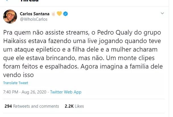 Fãs comentam sobre convulsão de Pedro Qualy (Foto: Reprodução / Twitter)