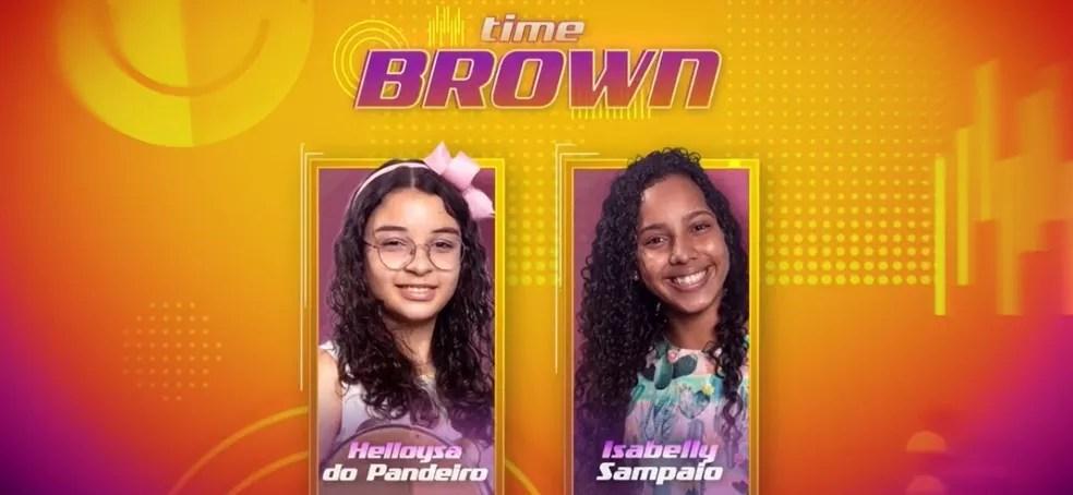 Helloysa do Pandeiro e Isabelly Sampaio concorrem pelo Time Brown, no 'The Voice Kids'. — Foto: Reprodução/Globoplay
