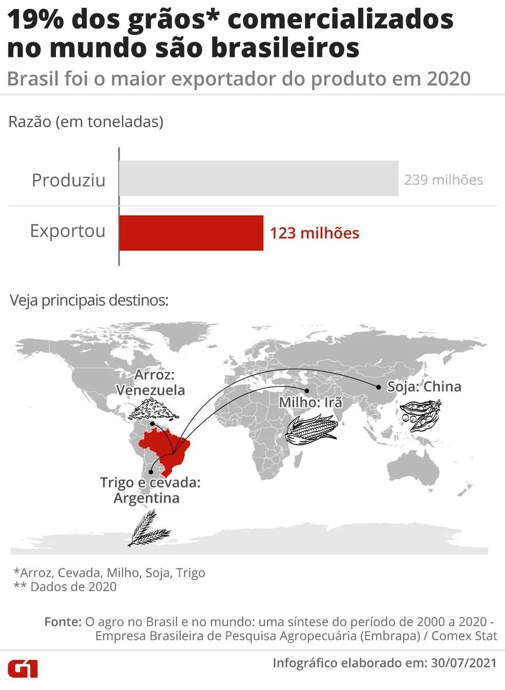 19% dos grãos comercializados no mundo são brasileiros — Foto: Daniel Ivanaskas / Arte G1