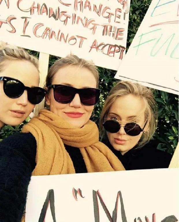 Resultado de imagem para marchas da mulheres adele, jennifer lawrence