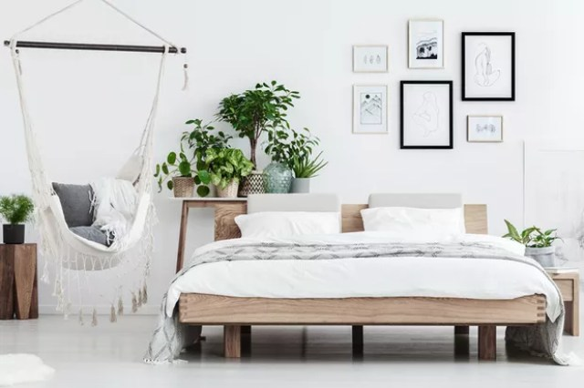 Plants behind wooden bed near hammock with pillows in natural bedroom with posters on white wall (Foto: Getty Images/iStockphoto)