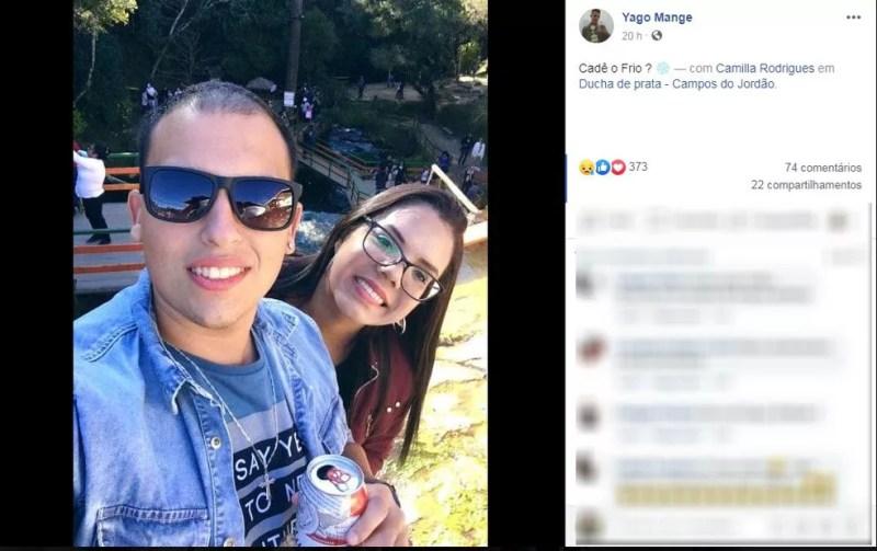 Yago Mange e Camilla Rodrigues — Foto: Reprodução/Facebook
