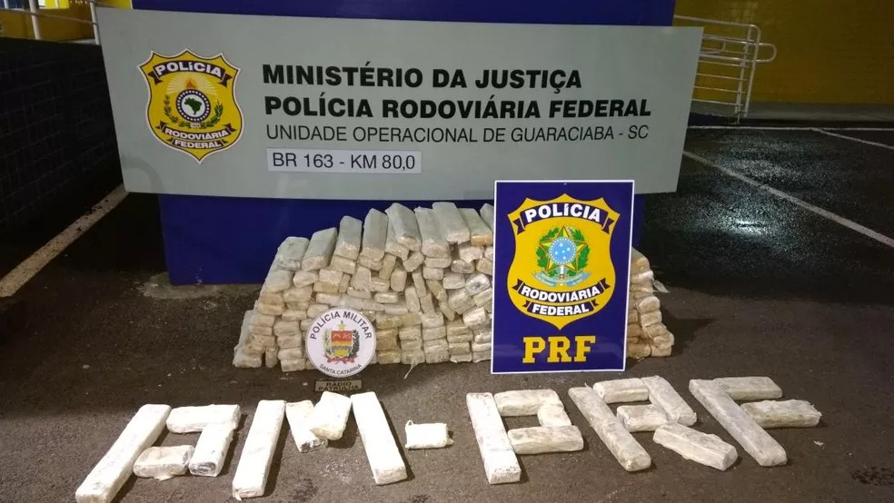 Polícia contabilizou 204 kg de maconha (Foto: PRF)