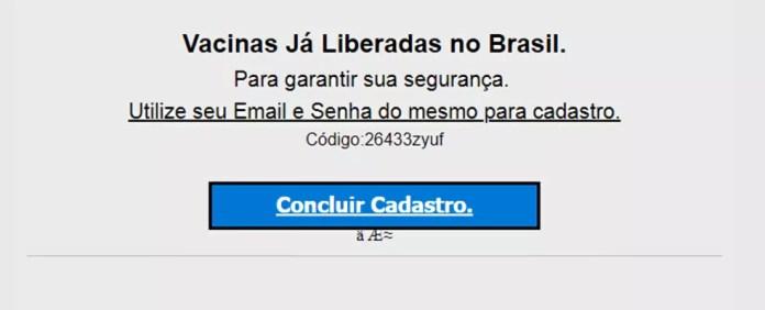 Phishing para'cadastro de vacinação' para roubar dados de brasileiros. — Foto: Reprodução/Kaspersky