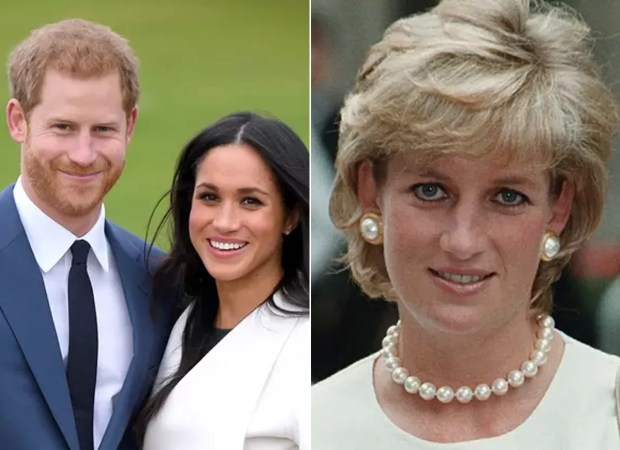Prince Harry, Meghan Markle, left, and Diana Spencer, right (Photo: Getty Images and Reproduction)