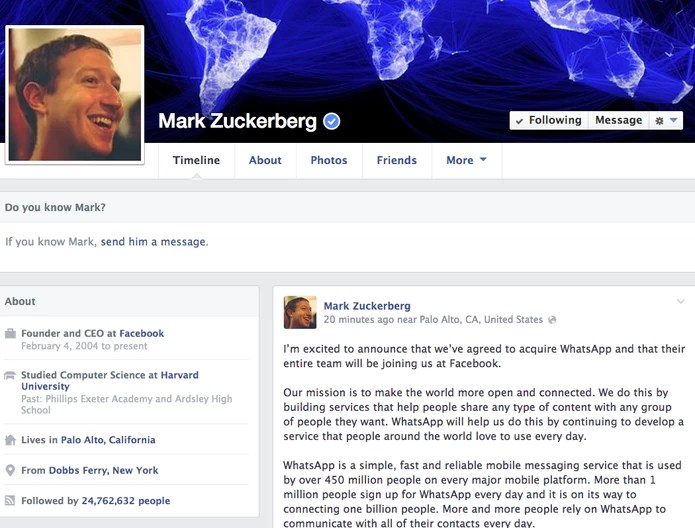 Mark Zuckerberg divulga o acordo da compra do WhatsApp em seu perfil pessoal no Facebook (Foto: Reprodução/Facebook)