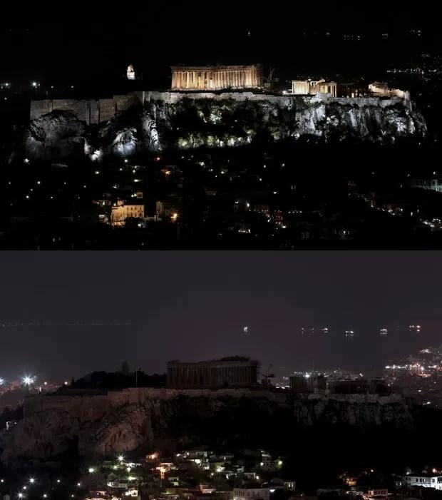 Montagem mostra o templo Partenon, em Atenas, antes e depois do apagar das luzes (Foto: Angelos Tzortzinis / AFP)