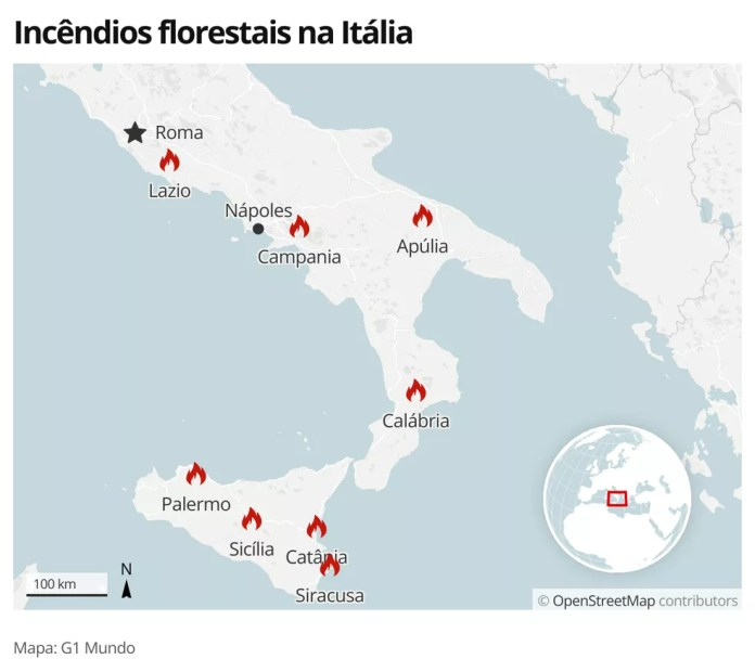 Incêndios florestais na Itália — Foto: G1 Mundo