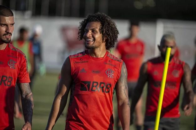 William Arão no treino do Flamengo — Foto: Alexandre Vidal/Flamengo