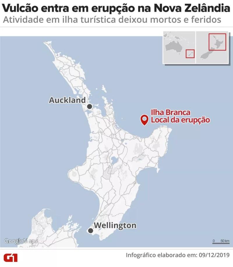 Mapa mostra local onde vulcão entrou em erupção na Nova Zelândia — Foto: Rodrigo Sanches/Arte G1