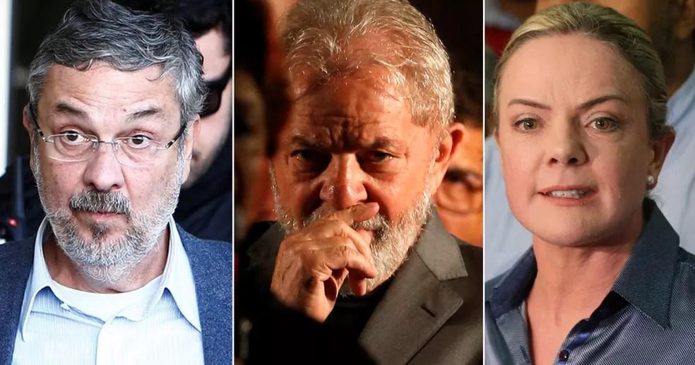 Da esq. para a dir., o ex-ministro Antonio Palocci, o ex-presidente Luiz Inácio Lula da Silva e a senador Gleisi Hoffmann