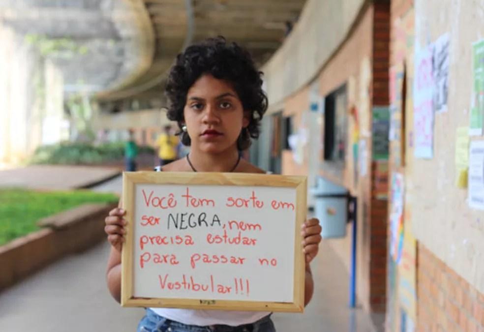 A UnB foi a primeira universidade federal a ter cotas raciais; estudantes cotistas, como Estefany Alves, dizem que sofrem e preconceito por causa disso — Foto: Divulgação/Lorena Monique dos Santos