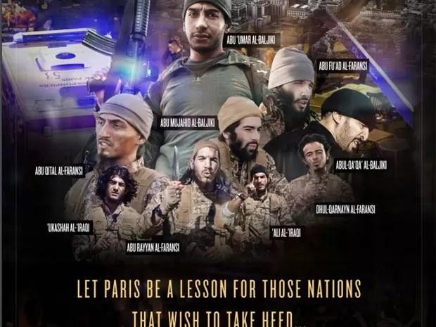 Pôster publicado na revista do grupo Estado Islâmico mostra jihadistas dos ataques de novembro em Paris (Foto: Reprodução/ Dabiq)