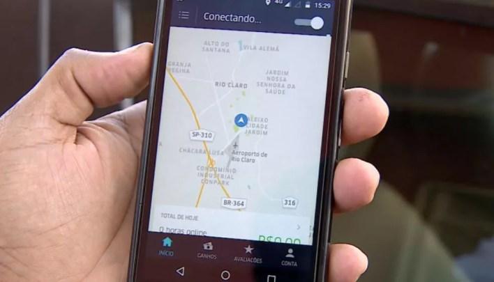 Aplicativo da Uber (Foto: Reprodução/EPTV)
