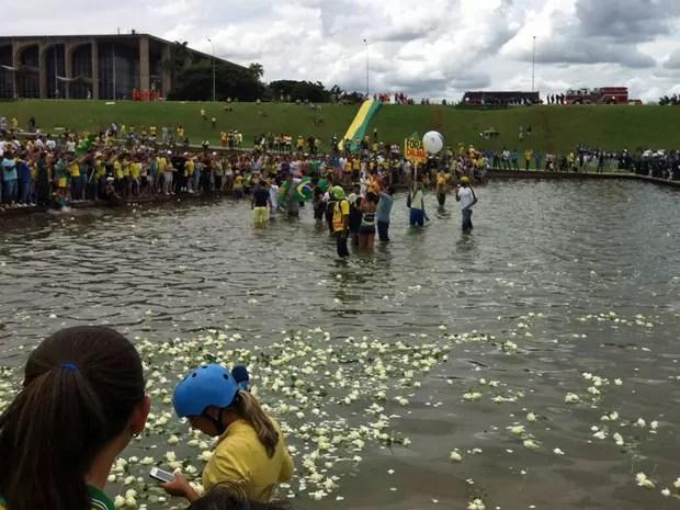 Manifestantes atiram rosas no espelho d'água em frente ao Congresso Nacional (Foto: Mateus Rodrigues/G1)