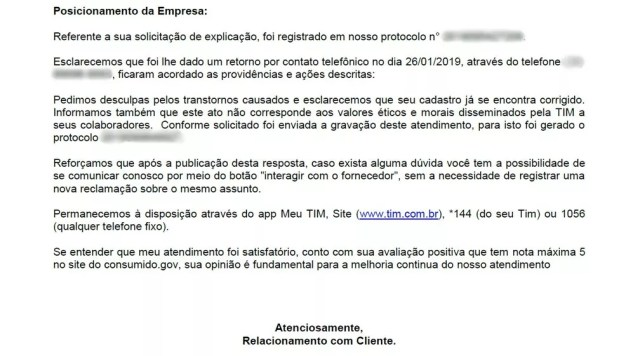 Empresa Tim enviou carta com pedido de desculpas à cliente após xingamentos — Foto: Arquivo pessoal/Bruno Ribeiro Carvalho