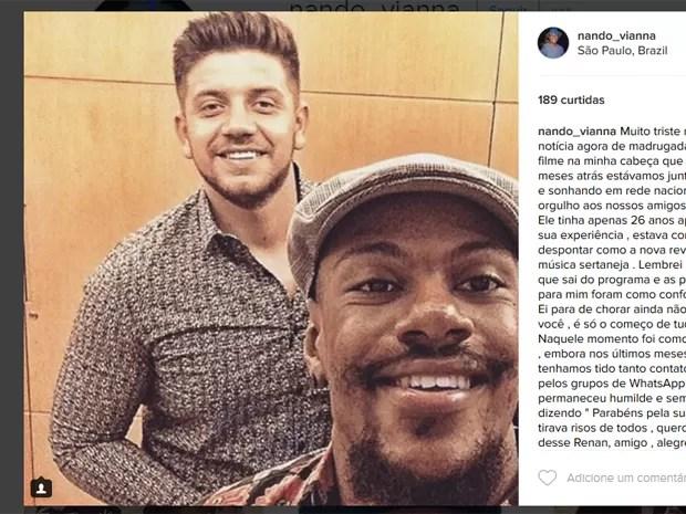 Nando Vianna, ex-The Voice Brasil, faz homenagem a Renan Ribeiro (Foto: Reprodução/Instagram)