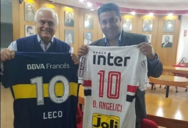 Leco e Angelici trocaram camisas em encontro no Morumbi (Foto: Divulgação/BocaJuniors)