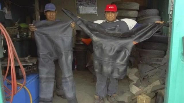 O mergulhador usava um traje feito com borracha de pneu de caminhão (Foto: V. M. Vásquez)