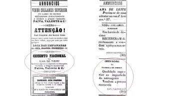 Anúncios do cimento de Tiriri em jornais paraibanos de 1892 — Foto: Reprodução/Estado do Parahyba e O Parahybano