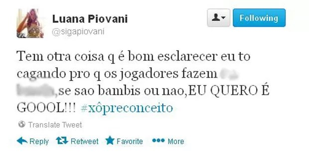 Reprodução twitter Luana Piovani provoca corinthians (Foto: Reprodução / Twitter)