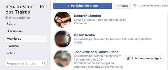 Grupo criado por perfil falso no Facebook tem participação de coordenador do Facemedia (Foto: Reprodução, Facebook)