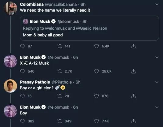 A revelação feita por Elon Musk do nome de seu filho com a cantora Grimes (Foto: Twitter)