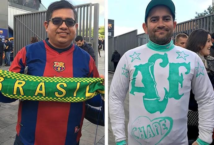 MONTAGEM - Torcedor com a camisa do Barcelona e camisa da Chapecoense (Foto: Ivan Raupp)