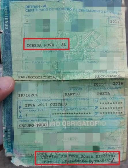 CRLV de Alagoas estava com o nome do diretor do Detran de Pernambuco — Foto: PRF/Divulgação