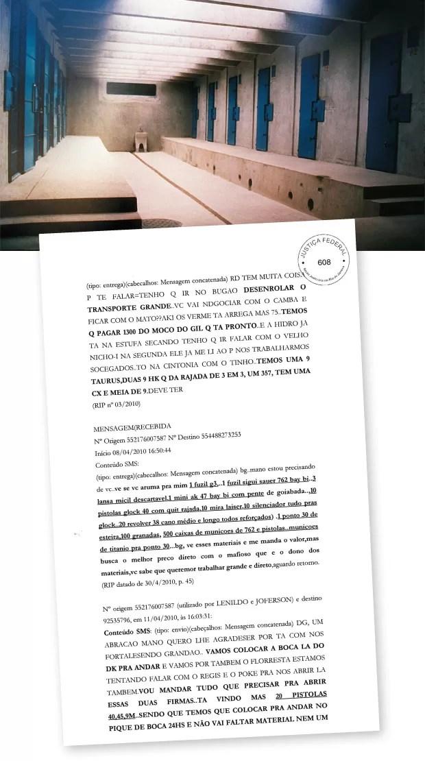 ASSOCIADOS Celas do complexo presidiário de Bangu, no Rio. A transcrição de conversa (acima.) mostra a associação entre o grupo criminoso carioca Comando Vermelho e a organização paulista PCC (Foto: Jorge William/Ag. O Globo e reprodução)