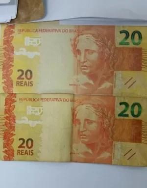 Cédulas falsas de R$ 20 (Foto: Divulgação/ Polícia Civil)