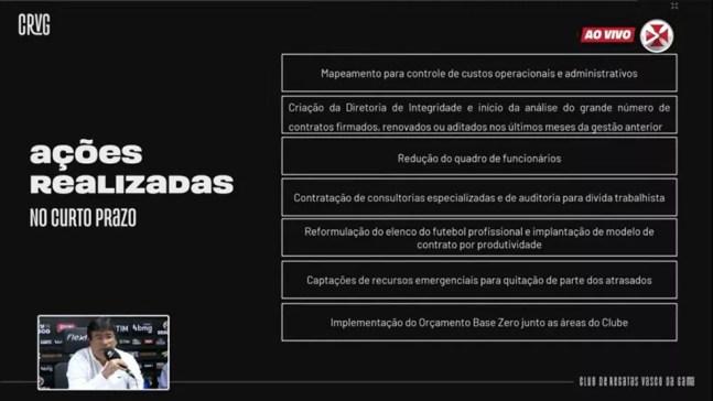 Vasco apresenta medidas tomadas a curto prazo para reduzir dívida — Foto: Reprodução / VascoTV