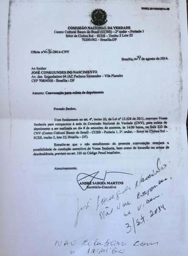 Documento com a convocação do tenente da reserva José Conegundes do Nascimento e a resposta, dele, manuscrita, informando que não compareceria (Foto: Reprodução / Comissão da Verdade)