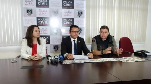 Polícias Civil e Militar concederam coletiva para detalhar a operação Arataguis na Central de Flagrantes, em João Pessoa (Foto: Hebert Araújo/TV Cabo Branco)