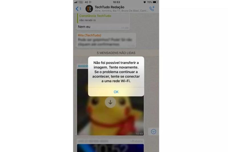 WhatsApp não baixa áudio e apresenta falha de download de imagens — Foto: Reprodução/WhatsApp