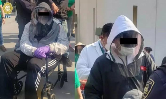 Momento em que os dois foram presos pela polícia — Foto: Divulgação/SSC
