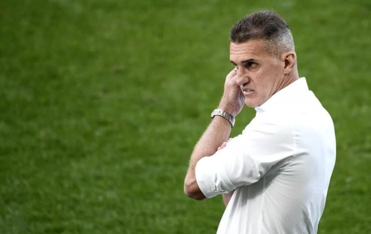 Vagner Mancini no jogo contra o Palmeiras, seu último pelo Corinthians — Foto: Marcos Ribolli