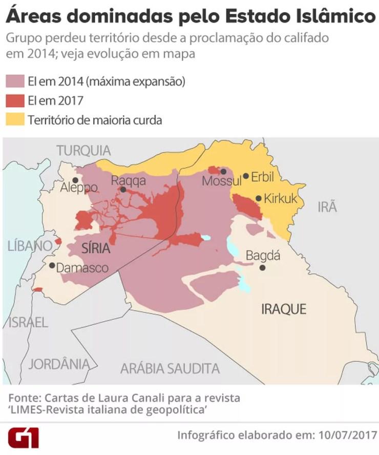 Veja no mapa as áreas dominadas pelo EI em 2014 e em 2017 (Foto: Cartas de Laura Canali para a revista