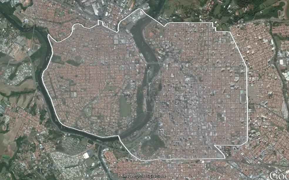 Área central de Piracicaba onde o Aedes do bem foi liberado (Foto: Reprodução/Google)