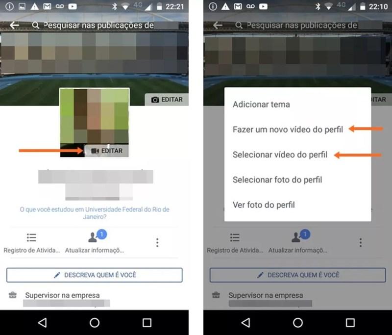 Acesse o Facebook e escolha a opção de adicionar um vídeo como foto de perfil (Foto: Carolina Ribeiro)