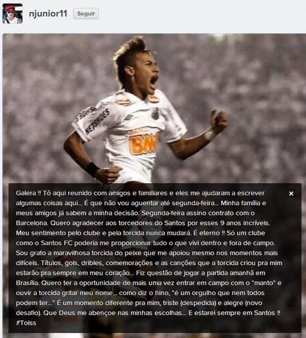 Neymar instagram Barcelona (Foto: Reprodução / Instagram)