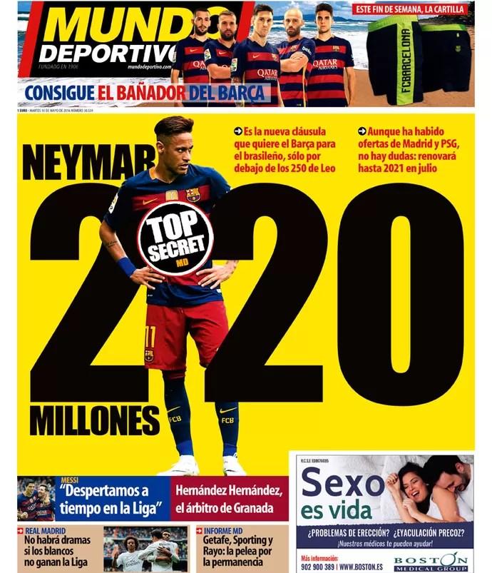 Capa do jornal Mundo Deportivo com Neymar (Foto: Reprodução)