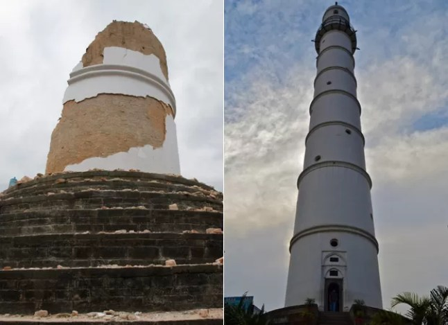 Torre foi destruída pela 2ª vez por terremoto (Foto: Niranjan Shrestha/AP / Sumona/CC)