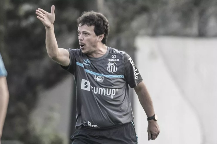 Fernando Diniz durante treino do Santos no CT Rei Pelé — Foto: Ivan Storti/Santos FC