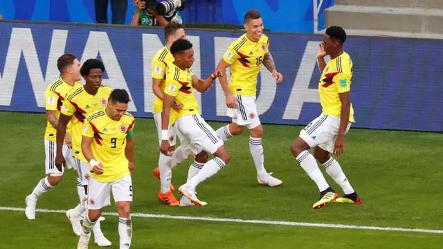 Comemoração da Colômbia no gol de Mina