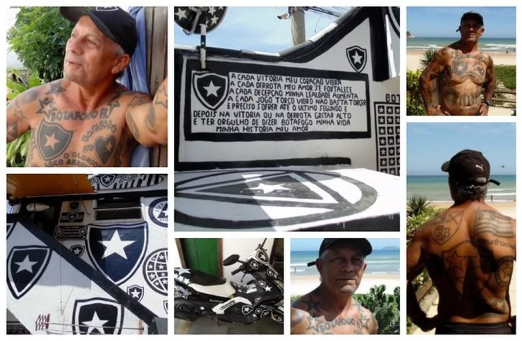 Torcedor do Botafogo, José Fábio é repleto de tatuagens do time — Foto: Gustavo Garcia/GloboEsporte.com