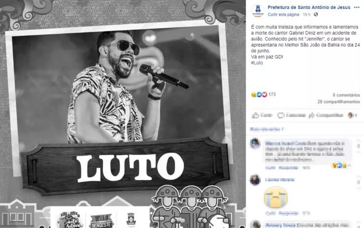 Postagem da prefeitura de Santo Antônio de Jesus, na Bahia — Foto: Reprodução/Facebook